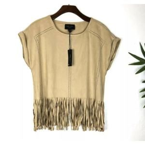 Romeo & Juliet Couture Fringe Crop Top Size Small